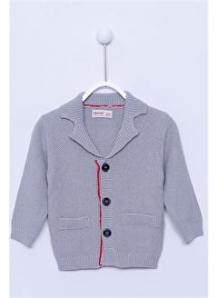 Silversun Kids Hırka Ceket Yaka Önden Düğme Kapamalı Uzun Kollu Triko Hırka Bebek Erkek T-113025